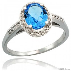 14k White Gold Diamond Swiss Blue Topaz Ring Oval Stone 8x6 mm 1.17 ct 3/8 in wide
