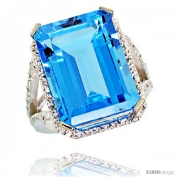 14k White Gold Diamond Swiss Blue Topaz Ring 14.96 ct Emerald shape 18x13 Stone 13/16 in wide