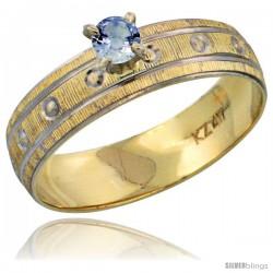 10k Gold Ladies' Solitaire 0.25 Carat Light Blue Sapphire Engagement Ring Diamond-cut Pattern Rhodium Accent, -Style 10y505er