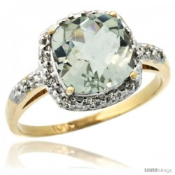 10k Yellow Gold Diamond Green-Amethyst Ring 2.08 ct Cushion cut 8 mm Stone 1/2 in wide