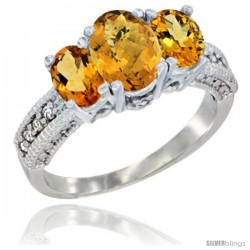 14k White Gold Ladies Oval Natural Whisky Quartz 3-Stone Ring with Citrine Sides Diamond Accent