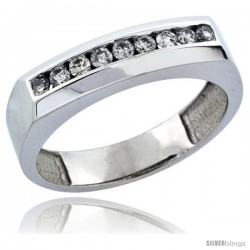 10k White Gold 9-Stone Ladies' Diamond Ring Band w/ 0.24 Carat Brilliant Cut Diamonds, 3/16 in. (5mm) wide