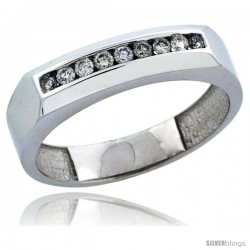 10k White Gold 9-Stone Men's Diamond Ring Band w/ 0.24 Carat Brilliant Cut Diamonds, 3/16 in. (5mm) wide