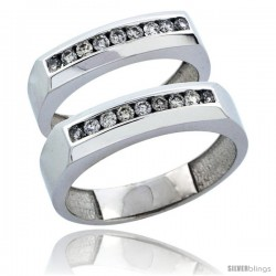 10k White Gold 2-Piece His (5mm) & Hers (5mm) Diamond Wedding Ring Band Set w/ 0.48 Carat Brilliant Cut Diamonds