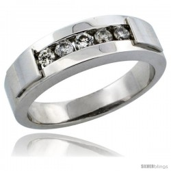 10k White Gold 5-Stone Ladies' Diamond Ring Band w/ 0.21 Carat Brilliant Cut Diamonds, 3/16 in. (5mm) wide