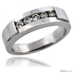 10k White Gold 5-Stone Ladies' Diamond Ring Band w/ 0.21 Carat Brilliant Cut Diamonds, 3/16 in. (5mm) wide