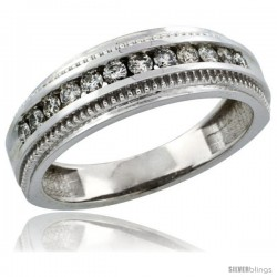 10k White Gold 12-Stone Milgrain Design Ladies' Diamond Ring Band w/ 0.31 Carat Brilliant Cut Diamonds, 1/4 in. (6mm) wide
