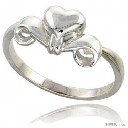 Sterling Silver Heart and Scrollwork Ring Flawless finish 5/16 in wide