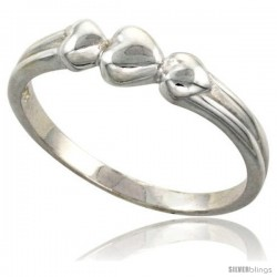 Sterling Silver 3-Heart Ring Flawless finish 1/4 in wide
