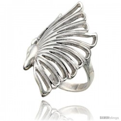 Sterling Silver Butterfly Ring Flawless finish 1 1/4 in wide
