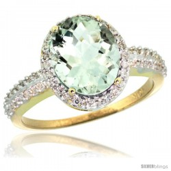 10k Yellow Gold Diamond Green-Amethyst Ring Oval Stone 10x8 mm 2.4 ct 1/2 in wide