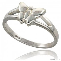Sterling Silver Dainty Butterfly Ring Flawless finish 5/16 in wide