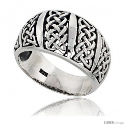 Sterling Silver Celtic Knot Dome Band Ring Flawless finish 1/2 in wide