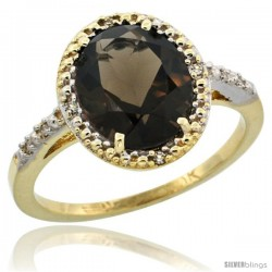 10k Yellow Gold Diamond Smoky Topaz Ring 2.4 ct Oval Stone 10x8 mm, 1/2 in wide -Style Cy907111