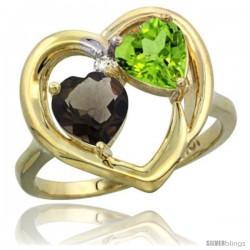 10k Yellow Gold 2-Stone Heart Ring 6mm Natural Smoky Topaz & Peridot