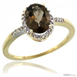 10k Yellow Gold Diamond Smoky Topaz Ring 1.17 ct Oval Stone 8x6 mm, 3/8 in wide