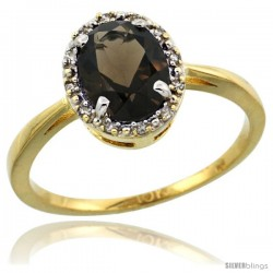10k Yellow Gold Diamond Halo Smoky Topaz Ring 1.2 ct Oval Stone 8x6 mm, 1/2 in wide