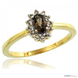 10k Yellow Gold Diamond Halo Smoky Topaz Ring 0.25 ct Oval Stone 5x3 mm, 5/16 in wide