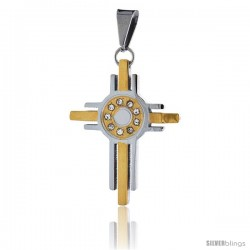 Stainless Steel Cross Pendant CZ Stones 2-tone Gold Finish, 1 5/16 in tall with 30 in chain