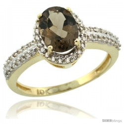 10k Yellow Gold Diamond Halo Smoky Topaz Ring 1.2 ct Oval Stone 8x6 mm, 3/8 in wide