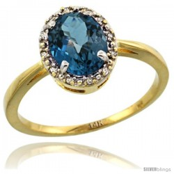 14k Yellow Gold Diamond Halo London Blue Topaz Ring 1.2 ct Oval Stone 8x6 mm, 1/2 in wide