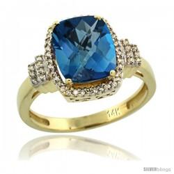 14k Yellow Gold Diamond Halo London Blue Topaz Ring 2.4 ct Cushion Cut 9x7 mm, 1/2 in wide