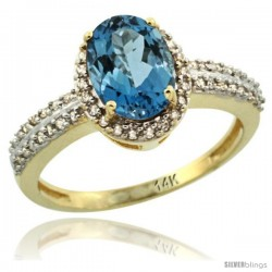 14k Yellow Gold Diamond Halo London Blue Topaz Ring 1.2 ct Oval Stone 8x6 mm, 3/8 in wide
