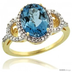 14k Yellow Gold Diamond Halo London Blue Topaz Ring 2.4 ct Oval Stone 10x8 mm, 1/2 in wide
