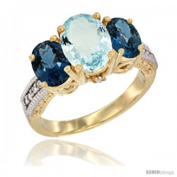 14K Yellow Gold Ladies 3-Stone Oval Natural Aquamarine Ring with London Blue Topaz Sides Diamond Accent