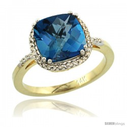 14k Yellow Gold Diamond London Blue Topaz Ring 3.05 ct Cushion Cut 9x9 mm, 1/2 in wide