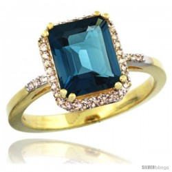 14k Yellow Gold Diamond London Blue Topaz Ring 2.53 ct Emerald Shape 9x7 mm, 1/2 in wide