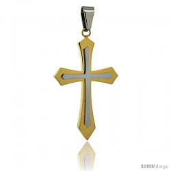 Stainless Steel Pointed Cross Pendant 2-tone Gold Finish, 1 3/4 in tall with 30 in chain
