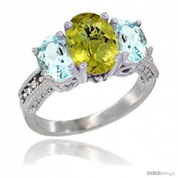 14K White Gold Ladies 3-Stone Oval Natural Lemon Quartz Ring with Aquamarine Sides Diamond Accent