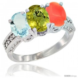 14K White Gold Natural Aquamarine, Lemon Quartz & Coral Ring 3-Stone Oval 7x5 mm Diamond Accent