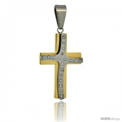 Stainless Steel Cross Pendant CZ Stones 2-tone Gold Finish, 1 3/4 in tall with 30 in chain