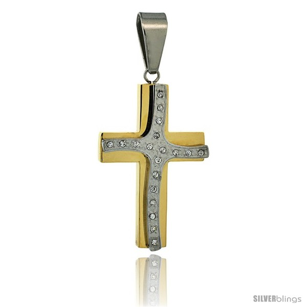 https://www.silverblings.com/2982-thickbox_default/stainless-steel-cross-pendant-cz-stones-2-tone-gold-finish-1-3-4-in-tall-30-in-chain.jpg