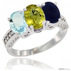 14K White Gold Natural Aquamarine, Lemon Quartz & Lapis Ring 3-Stone Oval 7x5 mm Diamond Accent