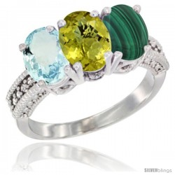 14K White Gold Natural Aquamarine, Lemon Quartz & Malachite Ring 3-Stone Oval 7x5 mm Diamond Accent