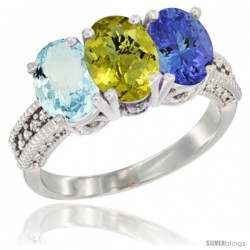 14K White Gold Natural Aquamarine, Lemon Quartz & Tanzanite Ring 3-Stone Oval 7x5 mm Diamond Accent