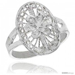 Sterling Silver Oval-shaped Floral Filigree Ring, 3/4 in