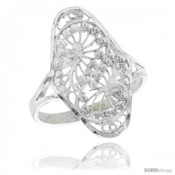 Sterling Silver Swirl Design Filigree Ring, 7/8 in, w/ Tiny Beads