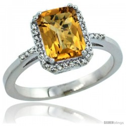 10k White Gold Diamond Whisky Quartz Ring 1.6 ct Emerald Shape 8x6 mm, 1/2 in wide -Style Cw926129