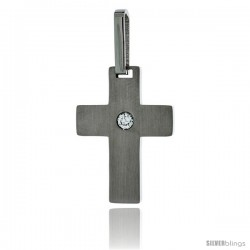 Stainless Steel Cross Pendant Matte finish CZ Center, 1 in tall with 30 in chain