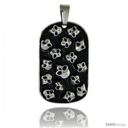 Stainless Steel Dog Tag with Skulls 2-tone Black finish, 1 5/16 in (33 mm) tall with 30 in chain