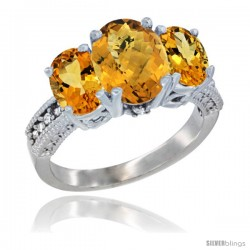 14K White Gold Ladies 3-Stone Oval Natural Whisky Quartz Ring with Citrine Sides Diamond Accent