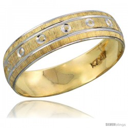 10k Gold Ladies' Wedding Band Ring Diamond-cut Pattern Rhodium Accent, 3/16 in. (4.5mm) wide -Style 10y505lb
