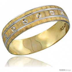 10k Gold Men's Wedding Band Ring Diamond-cut Pattern Rhodium Accent, 7/32 in. (5.5mm) wide -Style 10y505mb