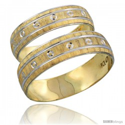 10k Gold 2-Piece Wedding Band Ring Set Him & Her 5.5mm & 4.5mm Diamond-cut Pattern Rhodium Accent -Style 10y505w2