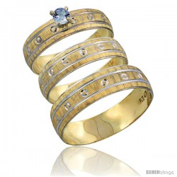 10k Gold 3-Piece Trio Light Blue Sapphire Wedding Ring Set Him & Her 0.10 ct Rhodium Accent Diamond-cut Pattern -Style 10y505w3