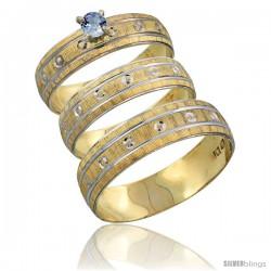 10k Gold 3-Piece Trio Light Blue Sapphire Wedding Ring Set Him & Her 0.10 ct Rhodium Accent Diamond-cut Pattern -Style 10y505w3